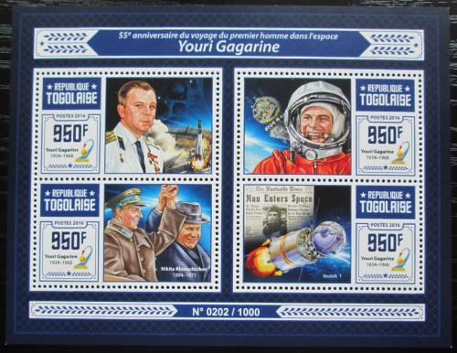 Poštovní známky Togo 2016 Jurij Gagarin Mi# 7312-15 Kat 15€