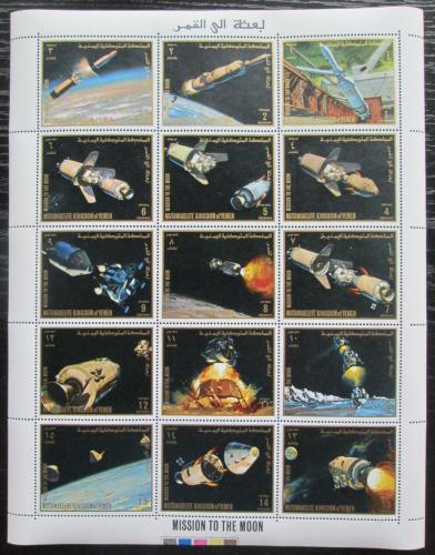 Poštovní známky Jemen 1969 Prùzkum Mìsíce Mi# 726-40 Bogen Kat 18€