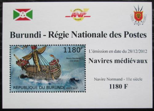 Poštovní známka Burundi 2012 Støedovìká plachetnice DELUXE Mi# 2858 Block