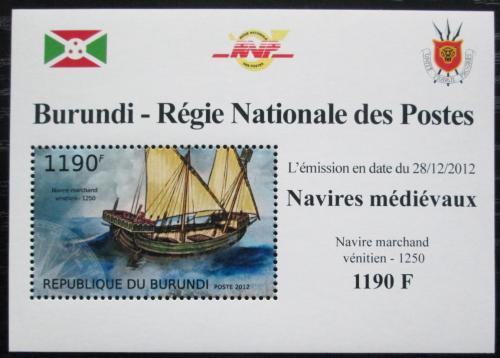 Poštovní známka Burundi 2012 Støedovìká plachetnice DELUXE Mi# 2859 Block