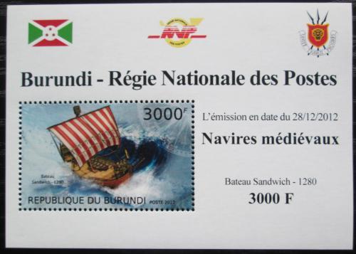 Poštovní známka Burundi 2012 Støedovìká plachetnice DELUXE Mi# 2860 Block