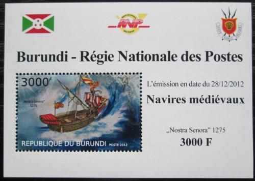 Poštovní známka Burundi 2012 Støedovìká plachetnice DELUXE Mi# 2861 Block