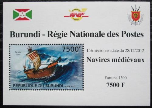 Poštovní známka Burundi 2012 Støedovìká plachetnice DELUXE Mi# 2862 Block
