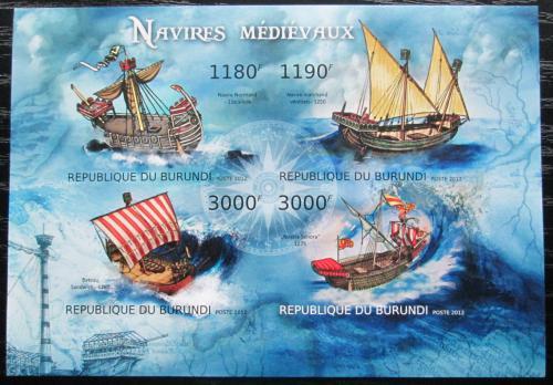 Poštovní známky Burundi 2012 Støedovìké plachetnice neperf. Mi# 2858-61 B Bogen