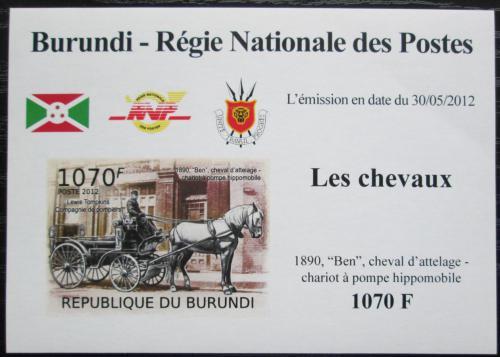 Poštovní známka Burundi 2012 Hasièský dostavník neperf. DELUXE Mi# 2401 B Block