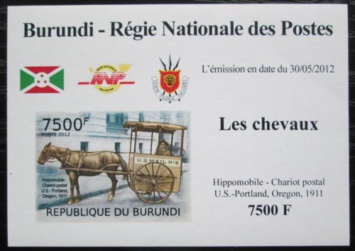 Poštovní známka Burundi 2012 Poštovní dostavník neperf. DELUXE Mi# 2405 B Block