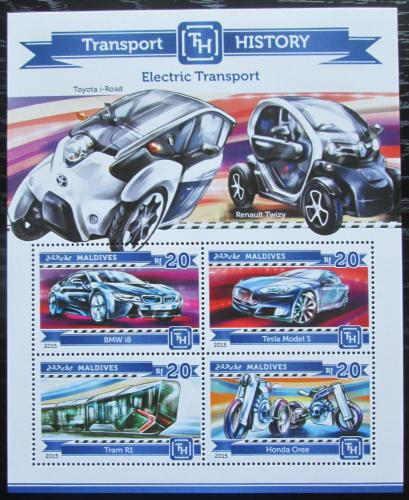 Poštovní známky Maledivy 2015 Elektrická vozidla Mi# 5525-28 Kat 10€