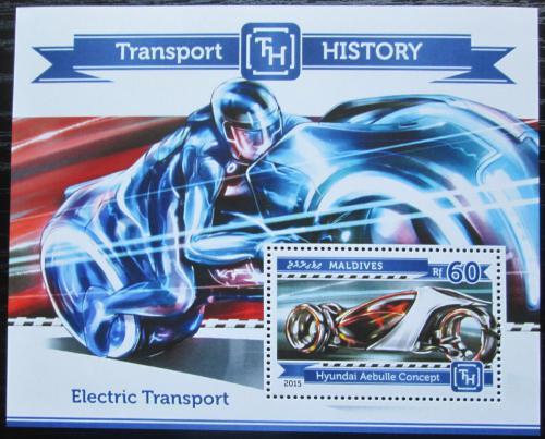 Poštovní známka Maledivy 2015 Elektrická vozidla Mi# Block 768 Kat 7.50€