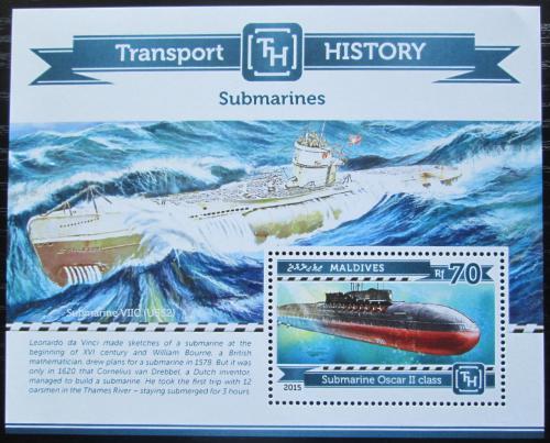 Poštovní známka Maledivy 2015 Ponorky Mi# Block 769 Kat 9€