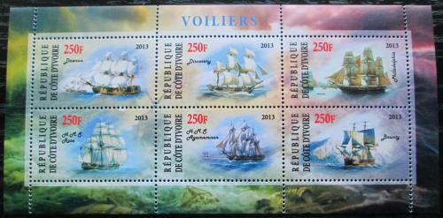 Poštovní známky Pobøeží Slonoviny 2013 Plachetnice Mi# N/N