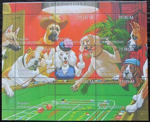 Poštovní známky Turkmenistán 1999 Psi a kostky Mi# N/N
