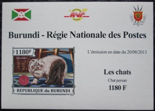 Poštovní známka Burundi 2013 Koèka perská neperf. DELUXE Mi# 3249 B Block