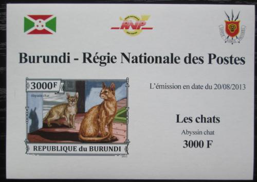 Poštovní známka Burundi 2013 Habešská koèka neperf. DELUXE Mi# 3251 B Block