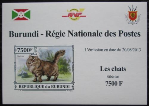 Poštovní známka Burundi 2013 Sibiøská koèka neperf. DELUXE Mi# 3252 B Block