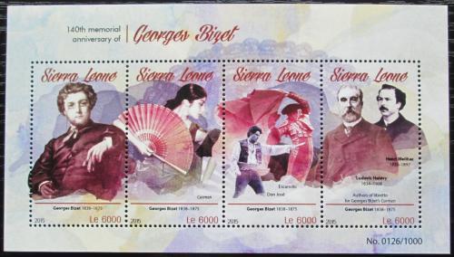 Poštovní známky Sierra Leone 2015 Georges Bizet, skladatel Mi# 6622-25 Kat 11€