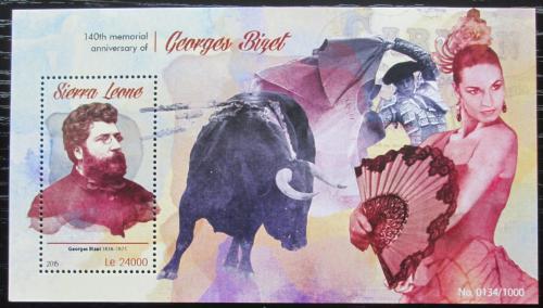 Poštovní známka Sierra Leone 2015 Georges Bizet, skladatel Mi# Block 857 Kat 11€