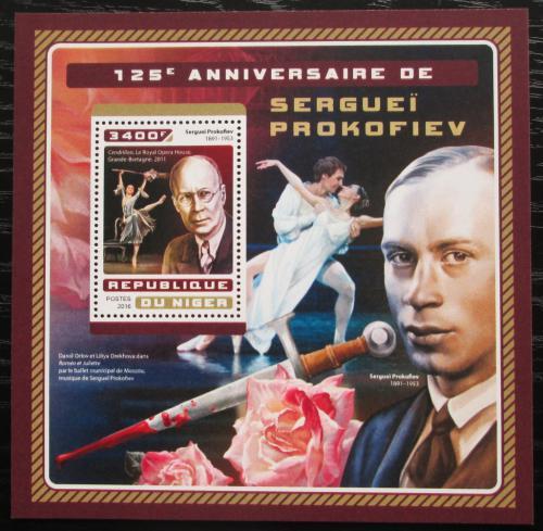 Poštovní známka Niger 2016 Sergej Prokofjev, skladatel Mi# Block 632 Kat 13€