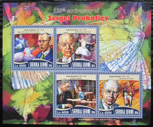 Poštovní známky Sierra Leone 2016 Sergej Prokofjev, skladatel Mi# 7433-36 Kat 11€
