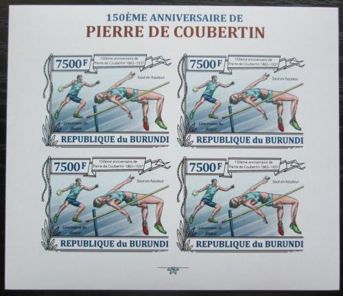 Poštovní známky Burundi 2013 Olympijské hry, Coubertin neperf Mi# 3192 B Bogen