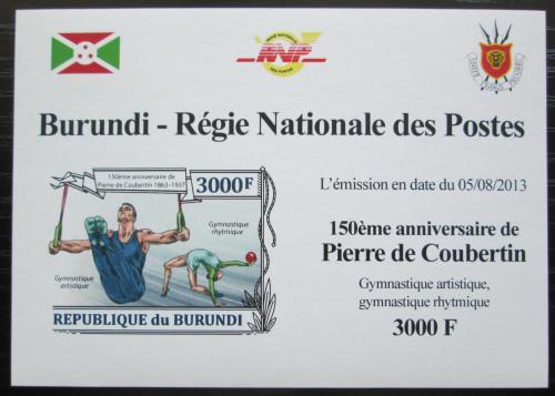 Poštovní známka Burundi 2013 Olympijské hry, Coubertin neperf Mi# 3191 B Block