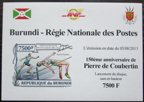 Poštovní známka Burundi 2013 Olympijské hry, Coubertin neperf Mi# 3192 B Block