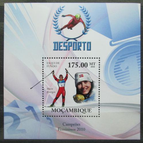 Poštovní známka Mosambik 2010 Marit Bjoergen, lyžaøka Mi# Block 330 Kat 10€