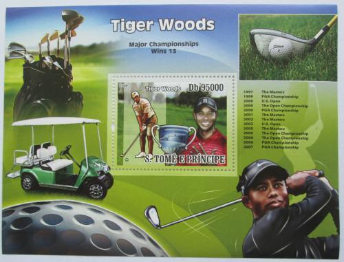 Poštovní známka Svatý Tomáš 2008 Tiger Woods, golf Mi# Block 659 Kat 12€