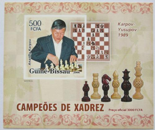 Poštovní známka Guinea-Bissau 2006 Anatolij Karpov neperf. Mi# 3454 B Block