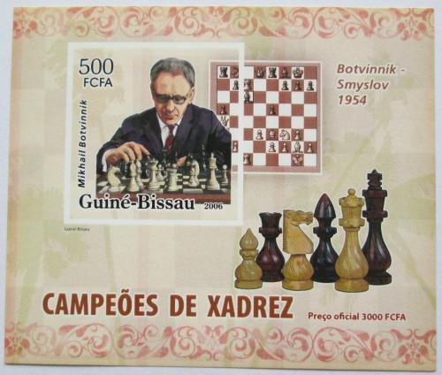 Poštovní známka Guinea-Bissau 2006 Michail Botvinnik neperf. Mi# 3455 B Block