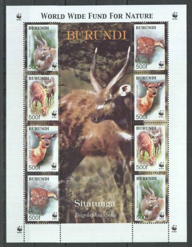 Poštovní známky Burundi 2004 Sitatunga, WWF Mi# 1867-70 Bogen Kat 14€