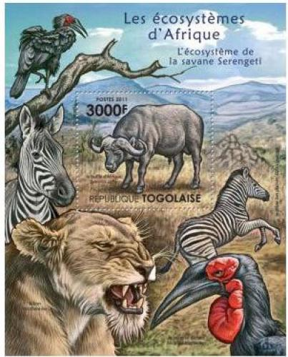 Poštovní známka Togo 2011 Fauna NP Serengeti Mi# Block 644 Kat 12€
