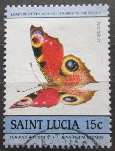 Poštovní známka Svatá Lucie 1985 Baboèka paví oko Mi# 733