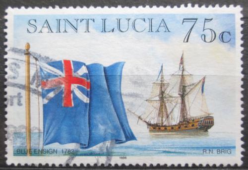 Poštovní známka Svatá Lucie 1996 Stará anglická vlajka Mi# 1064 I