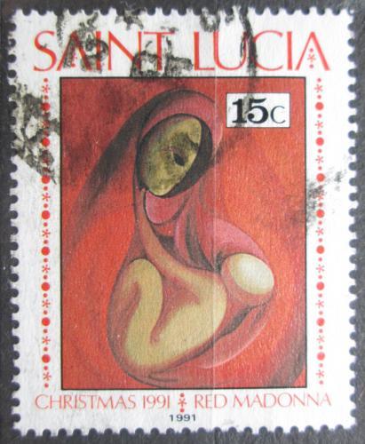 Poštovní známka Svatá Lucie 1991 Vánoce, náboženské umìní Mi# 996