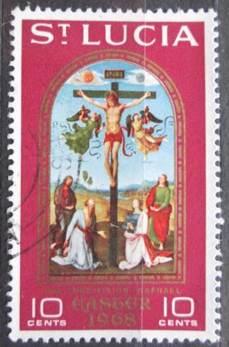 Poštovní známka Svatá Lucie 1968 Velikonoce, ukøižování Krista, Raffael Mi# 223