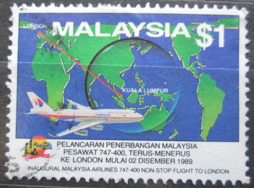 Poštovní známka Malajsie 1989 Letadlo Boeing 747 Mi# 415 Kat 6€