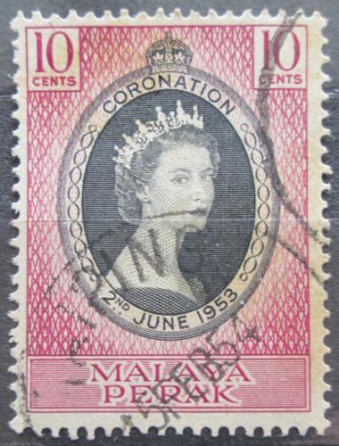 Poštovní známka Malajsie, Perak 1953 Královna Alžbìta II. Mi# 102