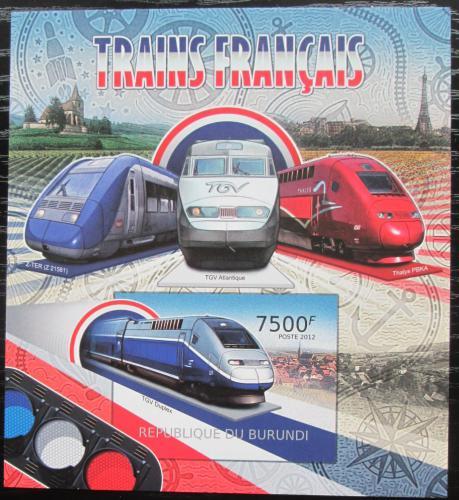 Poštovní známka Burundi 2012 Francouzské lokomotivy neperf. Mi# Block 221 B
