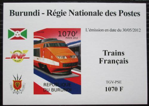 Poštovní známka Burundi 2012 Lokomotiva TGV-PSE neperf. Mi# 2441 B Block