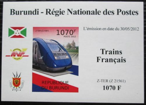Poštovní známka Burundi 2012 Lokomotiva Z-TER neperf. Mi# 2442 B Block