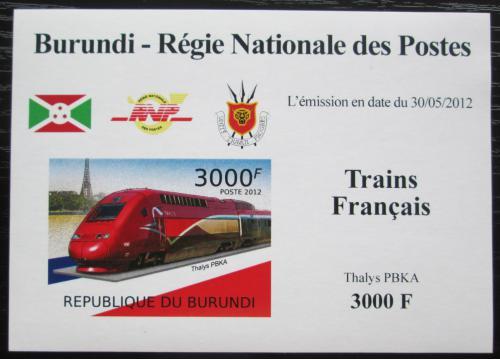 Poštovní známka Burundi 2012 Lokomotiva Thalys PBKA neperf. Mi# 2443 B Block