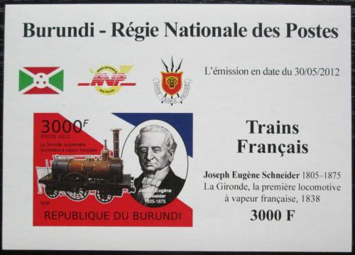Poštovní známka Burundi 2012 Lokomotiva La Gironde neperf. Mi# 2444 B Block