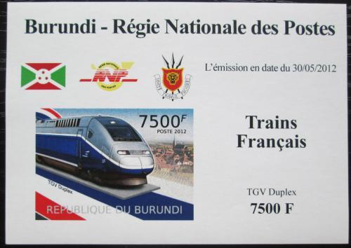 Poštovní známka Burundi 2012 Lokomotiva TGV Duplex neperf. Mi# 2445 B Block