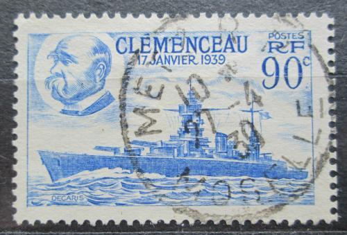 Poštovní známka Francie 1939 Váleèná loï Clemenceau Mi# 443