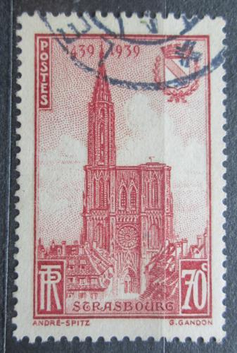 Poštovní známka Francie 1939 Katedrála Notre-Dame ve Štrasburku Mi# 458