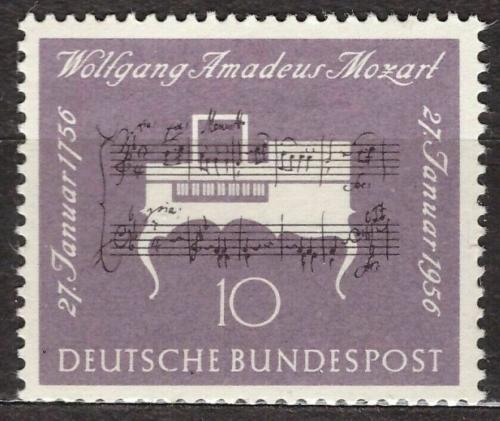 Poštovní známka Nìmecko 1956 Klavír, Wolfgang Amadeus Mozart Mi# 228