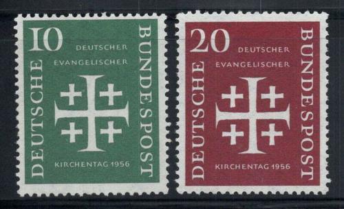Poštovní známky Nìmecko 1956 Den nìmeckých evangelíkù Mi# 235-36 Kat 9€
