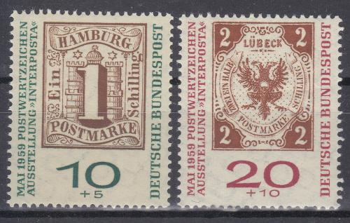 Poštovní známky Nìmecko 1959 Výstava INTERPOSTA Mi# 310-11 a