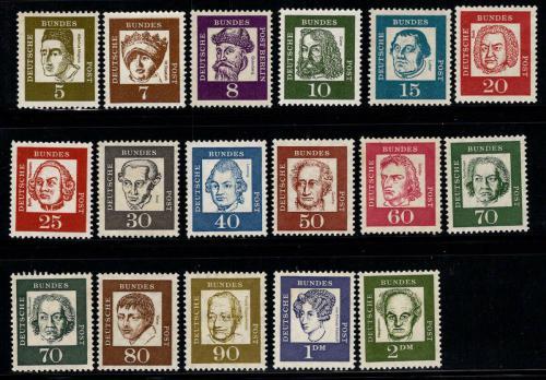 Poštovní známky Nìmecko 1961 Osobnosti Mi# 347-62 Kat 9€