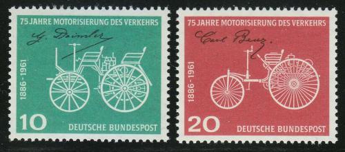 Poštovní známky Nìmecko 1961 Staré automobily Mi# 363-64
